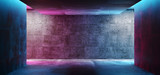 Fototapeta Scene - Modern Futuristic Sci Fi Concept Club Background Grunge Concrete Empty Dark Room With Neon Glowing Purple And Blue Pink Neon Lights 3D Rendering