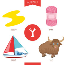 Vector Illustration Of Alphabet Letter Y And Pictures