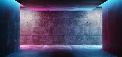 Moderna futuristička koncepcija Sci Fi koncepta pozadina Grunge betonska prazna mračna soba s neonskim užarenim ljubičastim i plavim ružičastim neonskim svjetlima 3D prikaz