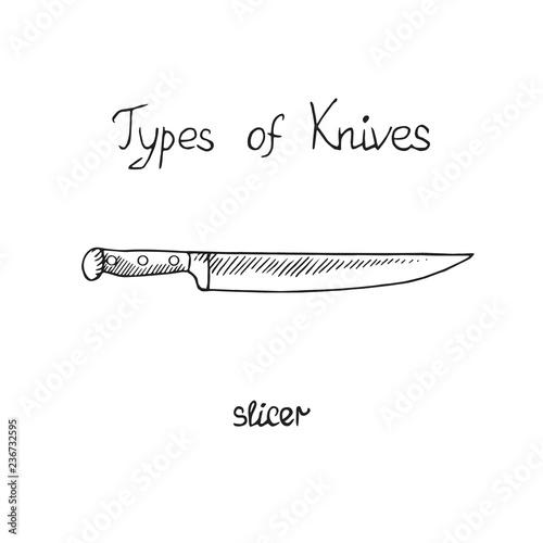 Fotografie, Obraz  Knife types, slicer, vector outline illustration with inscription