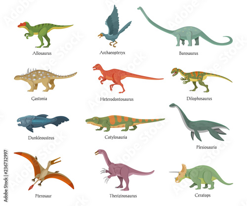 Set of dinosaurs living in airspace, on ground, in water.