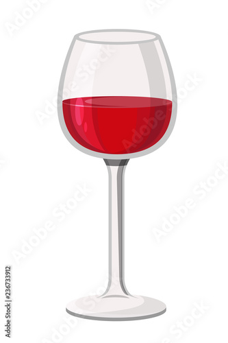 Fotografía  Alcoholic red wine drink in glass transparent wine glass, fouger.