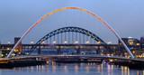 Gateshead Millennium Bridge and the Tyne Bridge