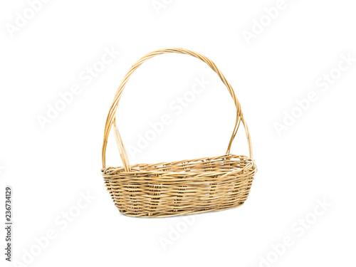 Fotografía  Empty wicker basket isolated on white background