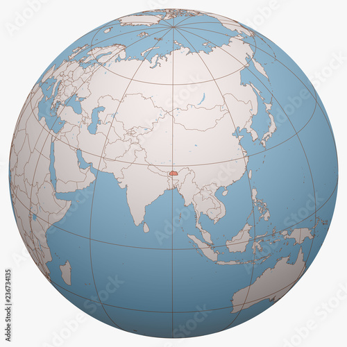 Bhutan on the globe. Earth hemisphere centered at the ...