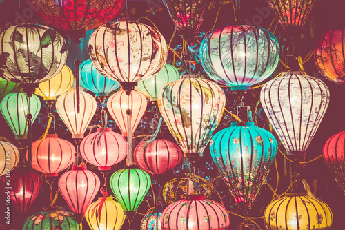 Foto op Plexiglas Asia land Colorful lanterns spread light on the old street of Hoi An Ancient Town - UNESCO World Heritage Site. Vietnam.