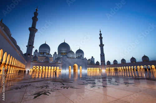 Canvas Prints Abu Dhabi Sheikh Zayed Grand Mosque in Abu Dhabi at Dusk