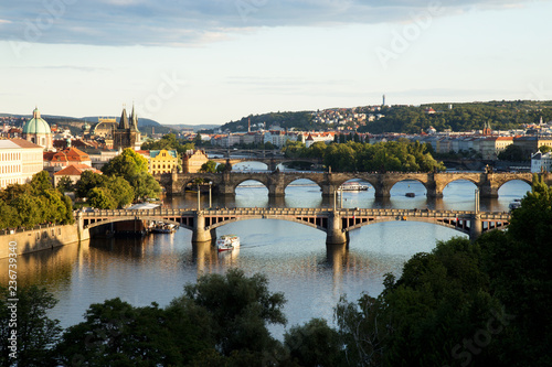 Aluminium Prints Prague Bridges of Prague over Vltava River, Scenic View from Letna