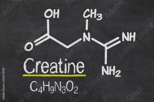 Fotografia Blackboard with the chemical formula of creatine