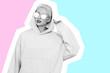 Leinwanddruck Bild - Pop art collage of young hipster woman.