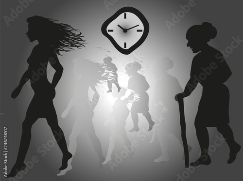 Fotografia, Obraz  vector image of a young girl who is aging over time