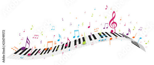 Tablou Canvas Colorful music notes background