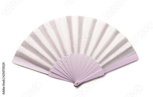 White folding hand fan mockup isolated - 236751524