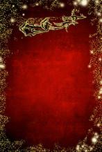 Christmas Greeting Card. Santa Claus Sleigh