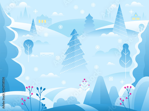 Poster Light blue Winter landscape background for banner, greeting card, poster and advertising.