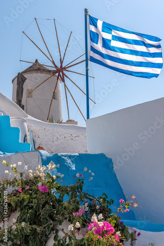 Oia windmill - Santorini Cyclades Island - Aegean sea - Greece Canvas Print
