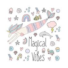 Mermaid Unicorn Cute Print. Magical Vibes