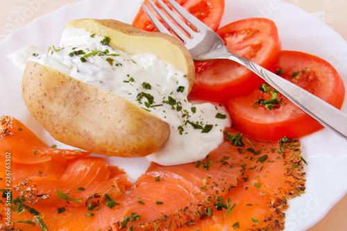 Baked potato and salmon