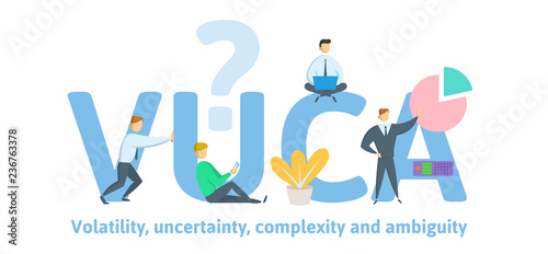 VUCA, volatility, uncertainty, complexity and ambiguity of general conditions and situations Wallpaper Mural