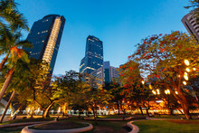 Ayala Triangle Park In The Middle Of Makati City, Philippines