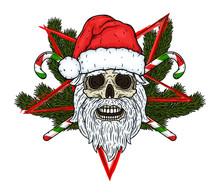 Skull. Santa Claus Skull. Vect...