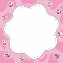 Cute Pink Border With Cow Vector