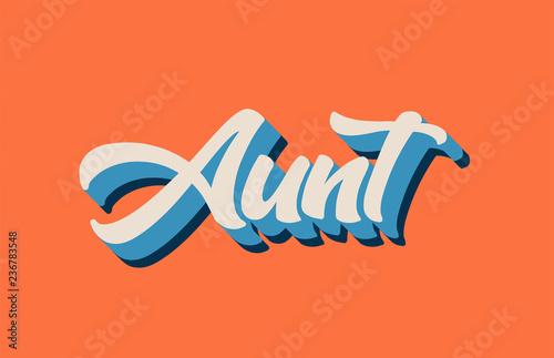 orange blue white aunt hand written word text for typography logo design Canvas Print