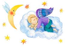 Little Angel. Silent Night. Watercolor Illustration