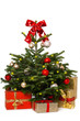Christmas tree with a red bow and christmas gifts isolated on white background