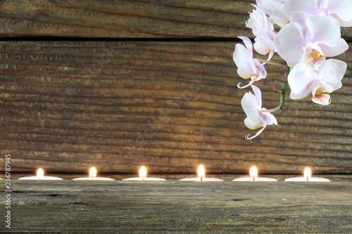 Poster Orchid Kerzen und Orchidee