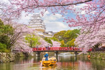Zamek Himeji, Japonia na wiosnę
