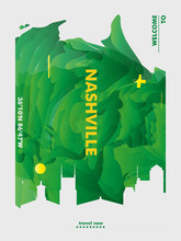 USA Nashville Skyline City Gradient Vector Poster