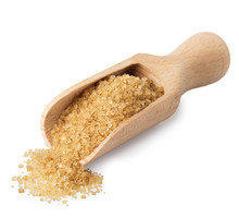 Brown Cane Sugar In Wooden Scoop