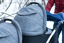 Stroller For Twins Close-up. S...