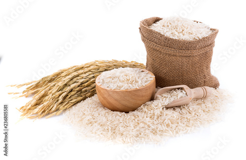 Pile of white rice on white background Fototapeta