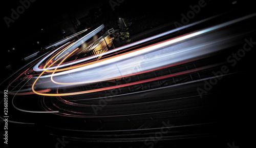 Aluminium Prints Night highway swoosh