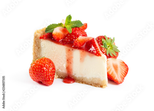 Piece of cheesecake with fresh strawberries and mint Canvas Print