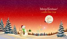 Snow Man Waving Goodbye To San...