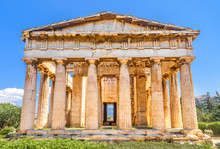 Temple Of Hephaestus In Ancient Agora, Athens, Greece. Greek Hystory Concept.