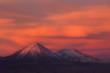 Breathtaking sunset at the Atacama's desert behind the mountains