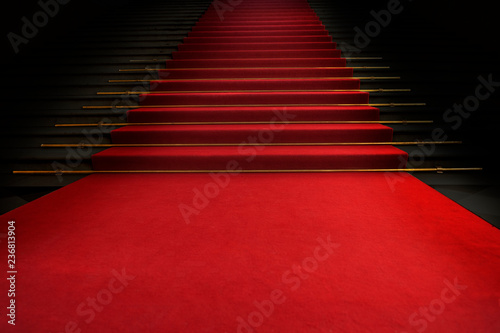 Carta da parati Red carpet on the stairs on a dark background