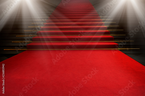 Fotografie, Tablou Red carpet on the stairs on a dark background