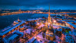 Saint Petersburg. Panorama of St. Petersburg. Peter-Pavel's Fortress. Petersburg in the winter. Russia. Russian cities in winter. Streets of Petersburg. Neva River. Ice floats on the Palace Bridge.