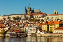 Prague Castle (Prazsky Hrad) With Saint Vitus Cathedral As Seen From The River Vltava In Prague, Czech Republic