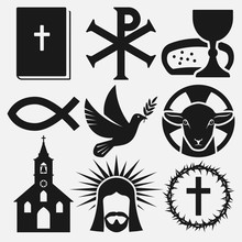 Christian Symbols Icons Set