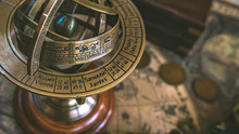 Antique Armillary Zodiac Signs With Sphere Pedestal