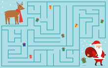 Christmas Maze Game For Kids. Help Deer Find Gifts That Have Fallen Out Of The Bag Of Santa Claus. Educational Activity Worksheet. Vector Illustration.