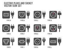 Electric Outlet Illustration In White Background. Different Type Power Socket Set, Vector Isolated Icon Illustration For Different Country Plugs. Power Socket - World Standards Icons Set