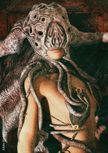 Portrait of a woman dressing Cthulhu-like masks. фототапет