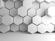 White Hexagonal Pattern On Front Wall, 3d
